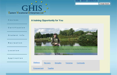 print screen of the GHIS website