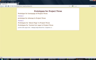 ©Oliver C Duffy - Oct 2010 - Thumbnail of Prototype Webpage